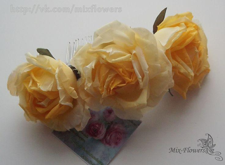 Silk rose barrette - crest, in Stock • $35 mix-flowers.ru