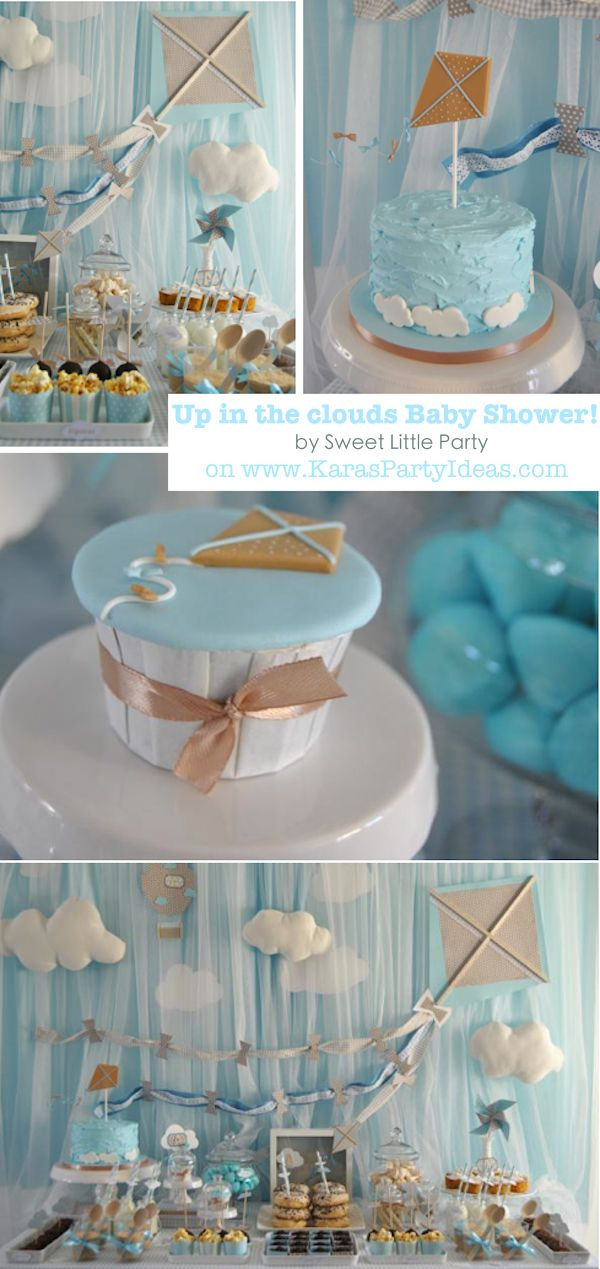 Up in the clouds Kite themed birthday party baby shower via Karas Party Ideas | KarasPartyIdeas.com #kite #up #clouds #baby #shower #birthday #party #idea