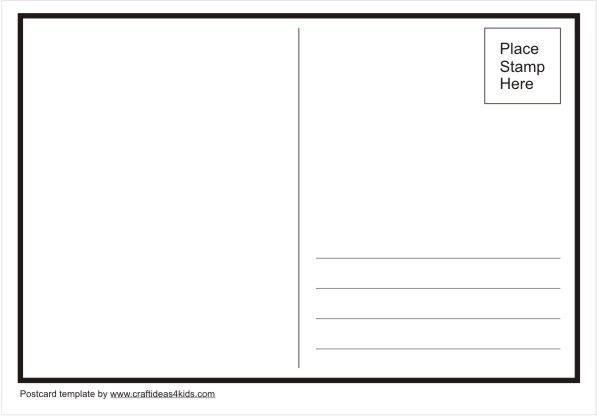 Postcard Template: A World of Girls craft at the end of the journey. Girls choose where they would like to visit one day and design their own postcard.