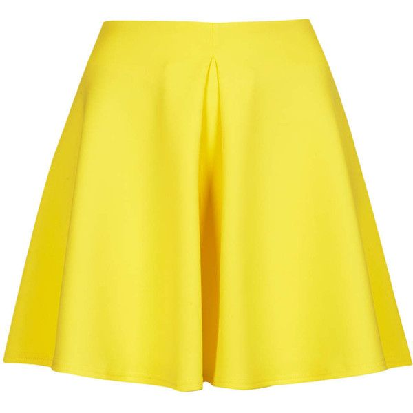 **Scuba Skater Skirt with Pleast by Oh My Love ($23) ❤ liked on Polyvore featuring skirts, bottoms, saias, faldas, yellow, circle skirt, zipper skirt, yellow skirt, box pleat skirt and flared skirt
