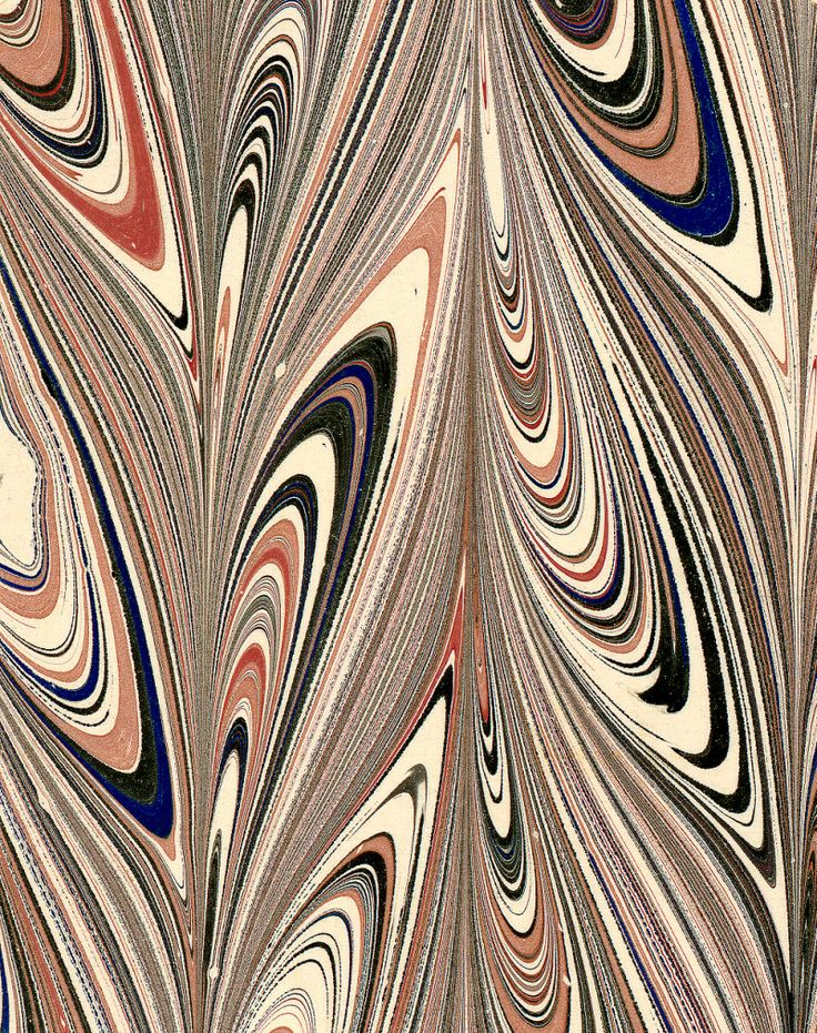 Modern 20th c. marbled paper, Peacock drag pattern by Don Guyot