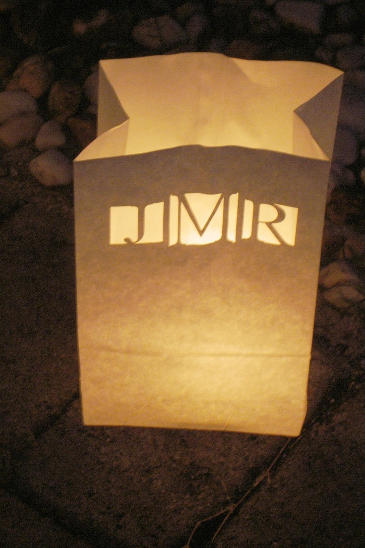 25 Personalized Wedding Candle Luminaries White by awilddesign, $31.25. Perfect for lining the sidewalk to the reception!