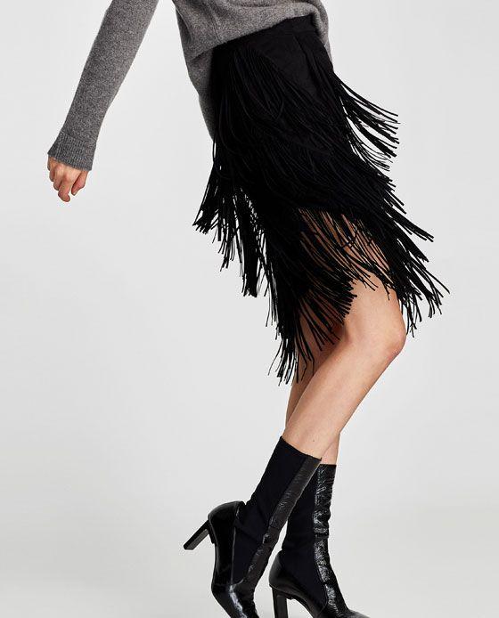 Image 3 of ASYMMETRIC FRINGED SKIRT from Zara