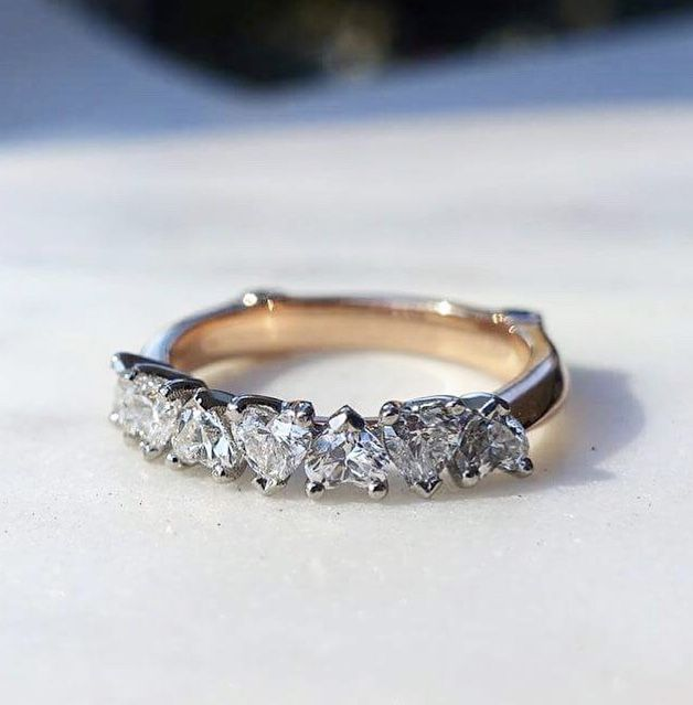 Heart Shaped Diamond Wedding Ring Or Eternity Ring Set In White