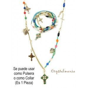 Pulsera multicolor con dijes variados también puede usarse como collar estilo 5021 , Bisuteria por mayoreo