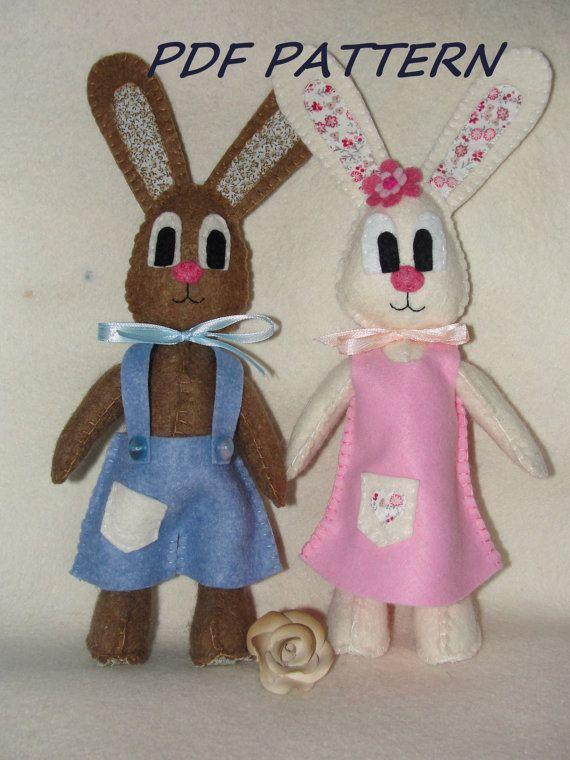Bunny Pattern Rabbit Pattern Sewing Pattern PDF by NitaFelt