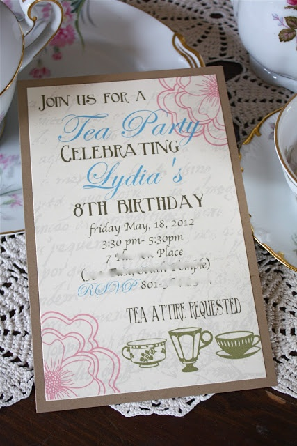 Kids tea party invites