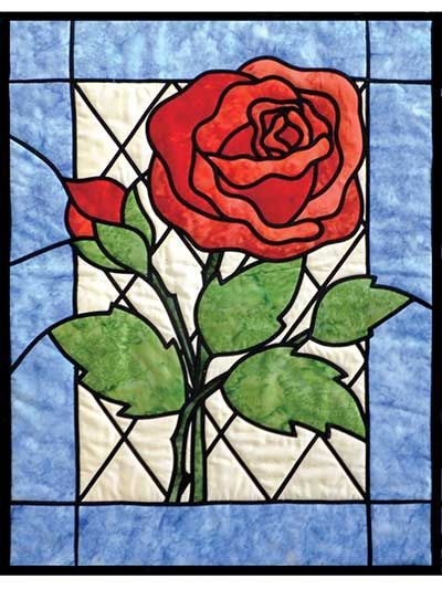 Stained Glass Rose Quilt Pattern
