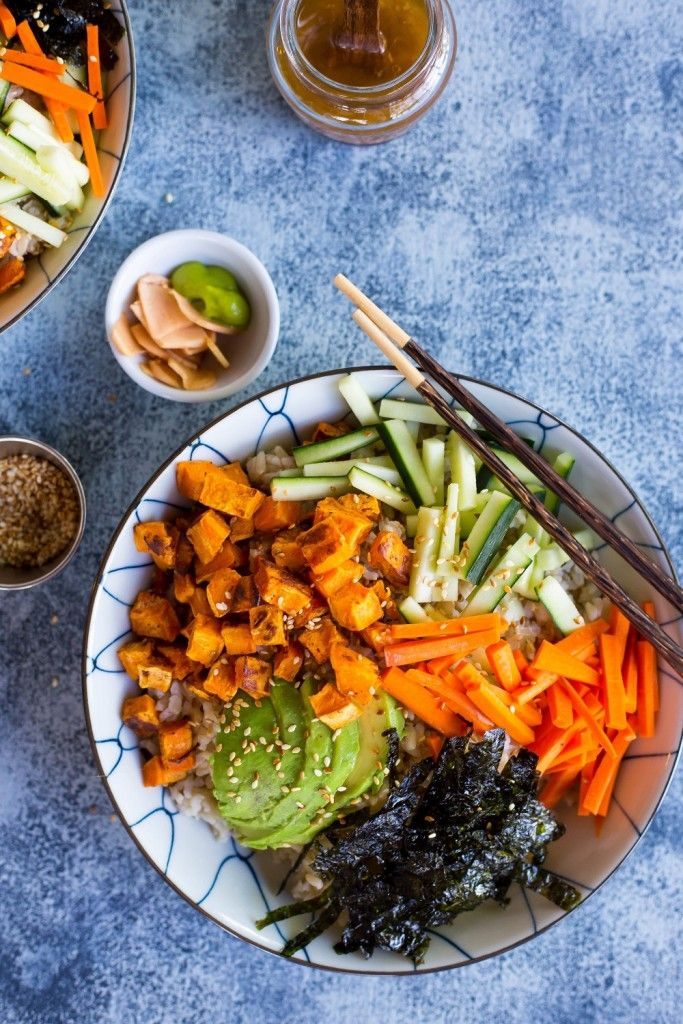 With these Vegetarian Sweet Potato Sushi Bowls you can enjoy your favorite sushi flavors at home without going to the trouble of rolling your own!
