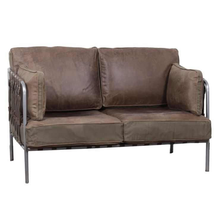 Buckle Up Brown Leather Distressed Sofa