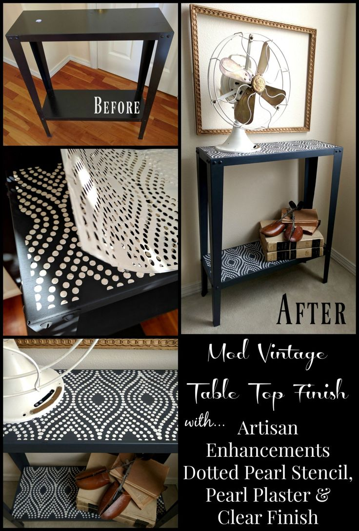 Mod Vintage Table Top Finish With Artisan Enhancements Dotted Pearl  Stencil, Pearl Plaster U0026 All