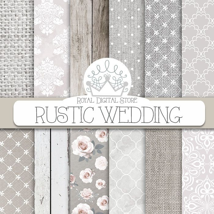 "Wedding digital paper :"" RUSTIC WEDDING "" with white wedding background, wedding textures for wedding invites, wedding cards #wedding #planner #shabbychic #digitalpaper #scrapbookpaper #romantic #floral"