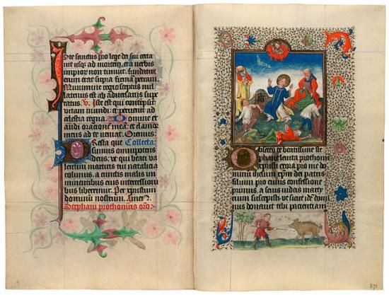 "Created in Utrecht, The Netherlands, around 1440, the manuscript was taken apart sometime before 1856. Its leaves were shuffled and then rebound into two volumes to make each look more or less complete. The first part was acquired by the duke of Arenberg, whose descendants owned it until 1957, when it was bought by New York dealer H. P. Kraus, who sold it to Alistair Bradley Martin. This volume had been known by scholars as the ""Hours of Catherine of Cleves."""