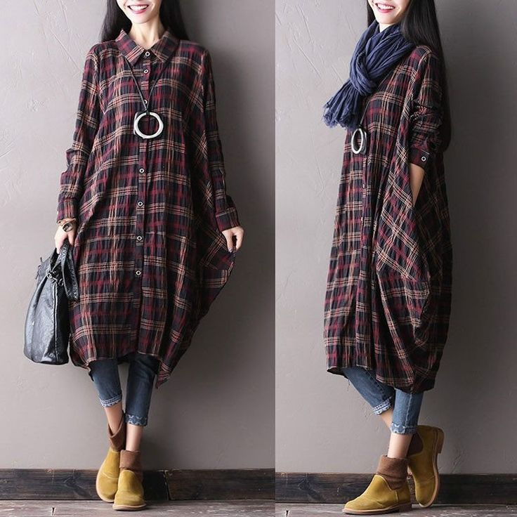 Women autumn long sleeve coffee cotton loose shirt  dress