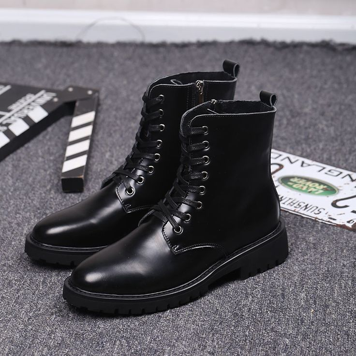 ==> [Free Shipping] Buy Best New Fashion High Men's Ankle Boots Top Quality British Trend Military Boots Smooth Surface Leather Casual Tooling Boots Online with LOWEST Price   32803738733
