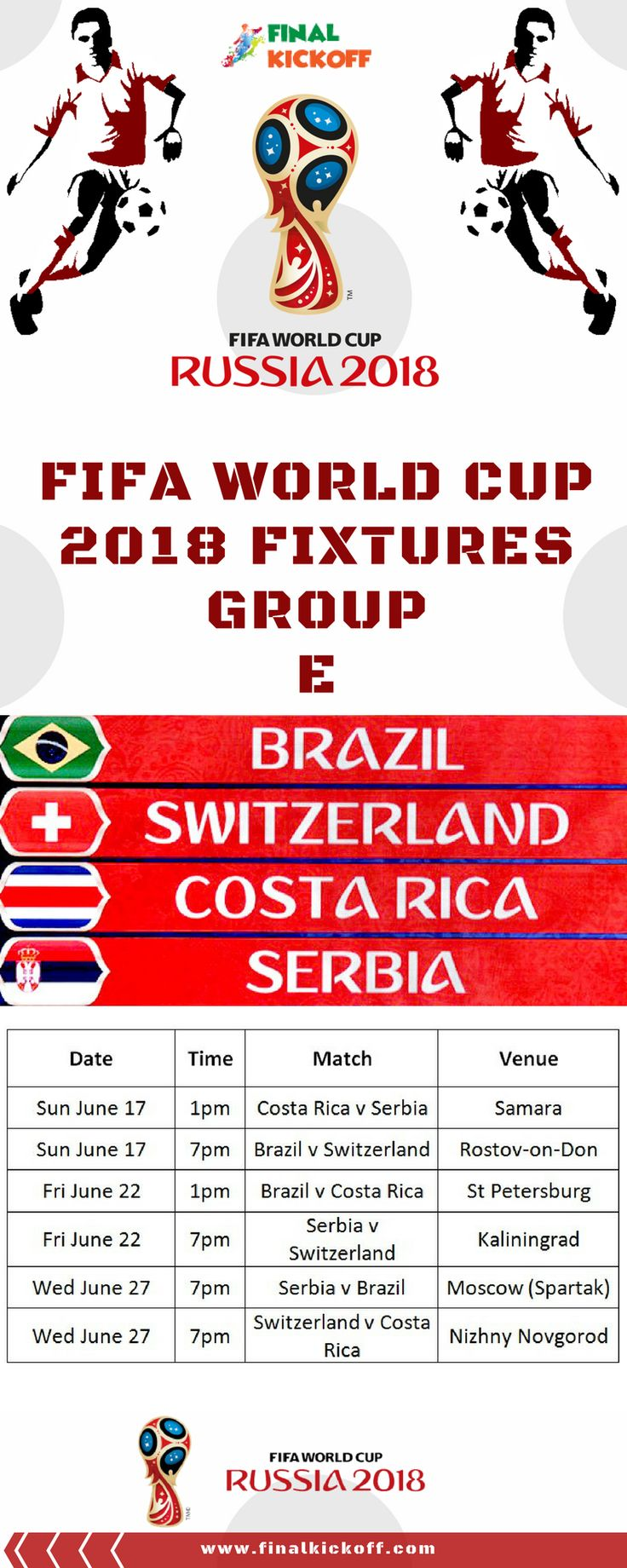 FIFA World Cup 2018 Match Schedule Group E
