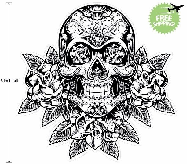 3 inch mexican sugar skull phone decal sticker day of the dead 13