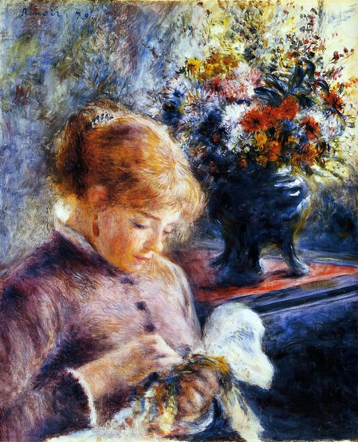 Lady Sewing by Pierre-Auguste Renoir • 1879 • oil on canvas • Art Institute of Chicago, Chicago, USA