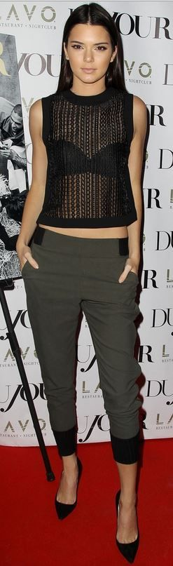 Kendall Jenner - Really like this outfit, tailored trousers & see through top, chic but relaxed.