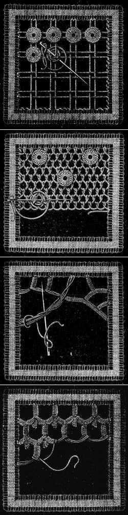 Irish Lace - Chapter XIII - Encyclopedia of Needlework, Irish lace materials, Irish lace patterns, tacking down the braids, bars of different kinds, Insertion stitches Embroidery Keka❤❤❤