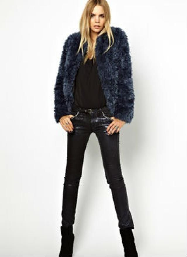 Date Outfits - Casual Winter Date - Black Jeans and Colorful Faux Fur Jacket
