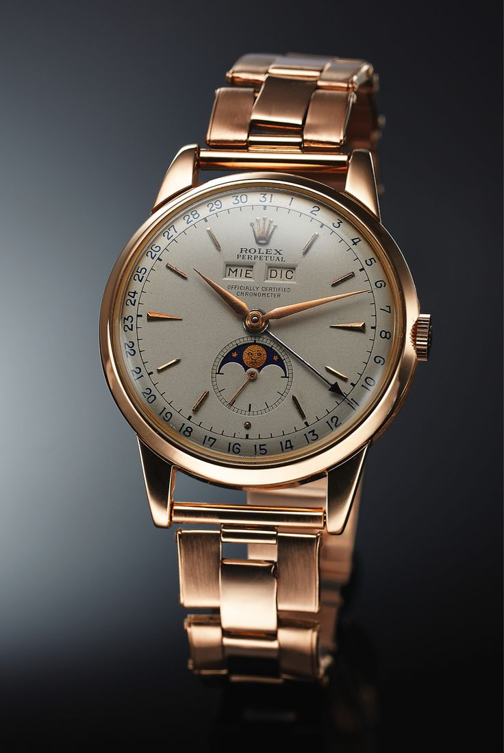 1950 Rolex 8171 Triple Calendar Moonphase... http://www.hodinkee.com/blog/found-five-pink-gold-watches-in-the-december-antiquorum-sale-none-of-which-have-an-estimate-over-2500