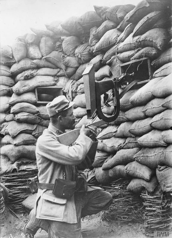 """WWI covered live on Twitter: """"French soldier using a periscopic rifle fitted to…"""