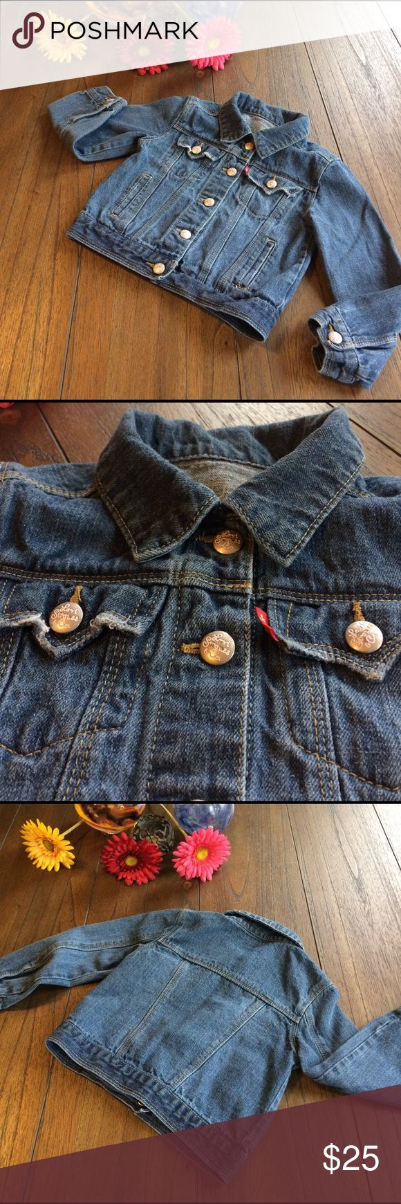 🌸Adorable🌸 Levi's Jean Jacket EUC Levi's Jean Jacket. Five snap front with two snap flap pockets at chest and two slit pockets at waist. Each snap has 'Levi Strauss & Co' stamped in pink! Snap at each wrist as well. Soft and has some slight distressing at pockets giving it that well loved look of a favorite Levi's jean jacket!! Super adorable!! Levi's Jackets & Coats Jean Jackets