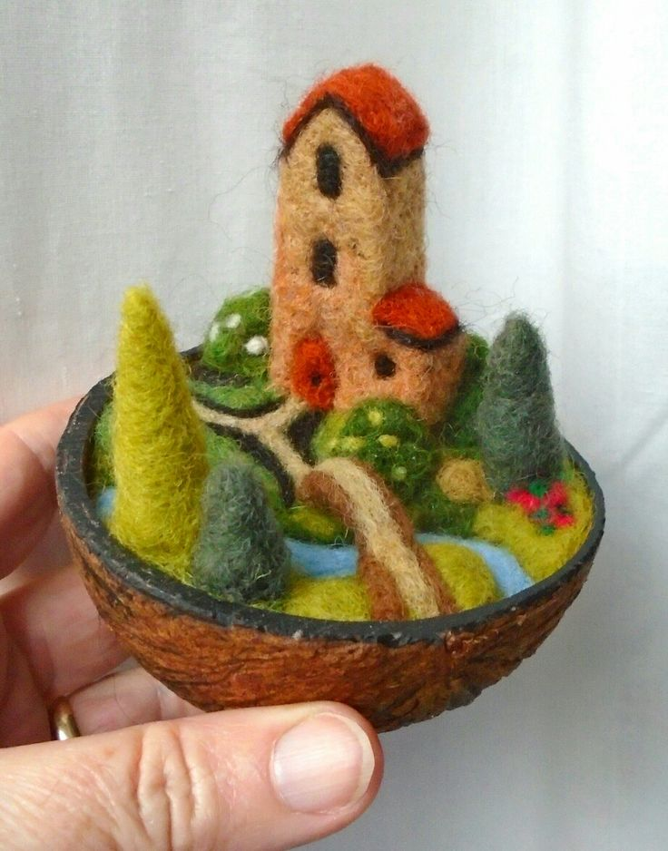 Country Retreat in a nutshell - needle felted - S.Shaw