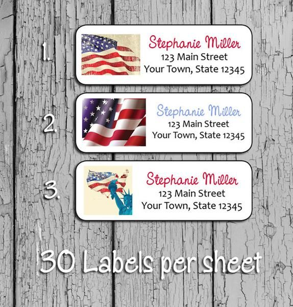 """USA FLAG Designs Return Address Labels, Patriotic Family Labels    Sets of 30 per page Personalized USA FLAG Designs - Family Address Labels!   All of our labels are peel and stick, acid-free and printed on a color laser printer and are smudge free. Each Label measures 1"""" x 2 5/8"""". When buying enter the quantity of sets that you would like, not the quantity of labels. For an example: if you would like 60 labels, do not enter 60 in the quantity field, enter 2, for 2 sets of 30 ..."""