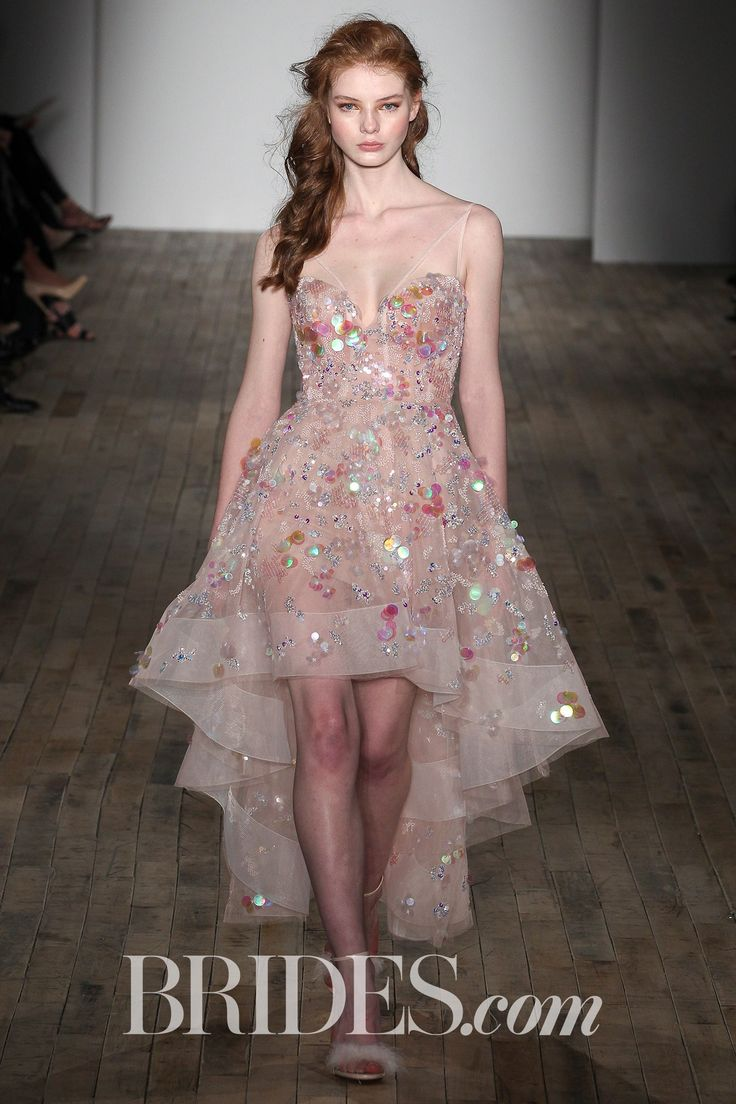 """""""Lucille"""" organza high-low dress in Hayley Paige's sweet tooth hue with dimensional holographic embellishments, by Hayley Paige; Hayley Paige Bridal & Wedding Dresses Spring 2018   Brides"""