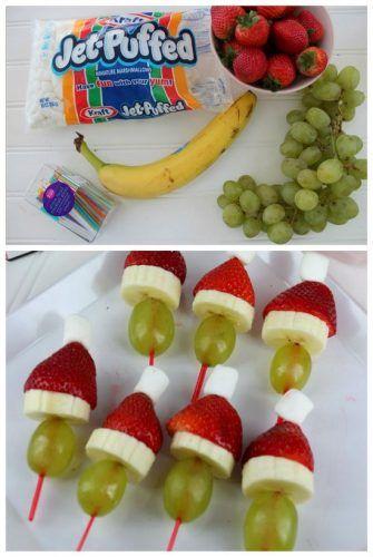Brochette de frutas para navidad