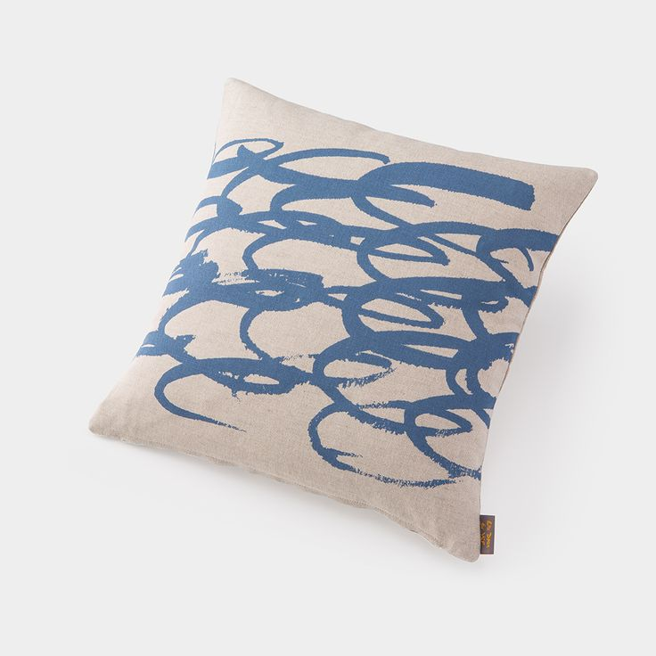 Duck feather cushion, created exclusively for YSP in response to the beautiful Bretton Estate and part of renowned designer Ella Doran's 'Brushmarks' range.