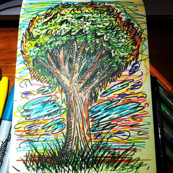 Como #bobross me enseño! #arbolitosfelices #happytree #sharpieart #ink #scketchbook #colours #psytree #tree