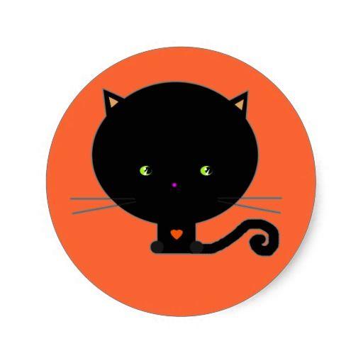 Etiquetas pretas do gato do Dia das Bruxas Adesivo