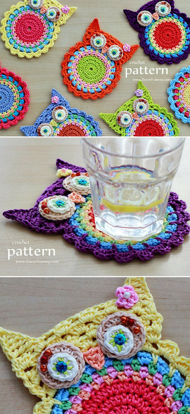 Crochet pattern for cute owl coasters! Adorable applique pattern for these cute owl coasters! Love it! #etsy #ad #pattern #pdf #download