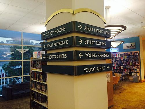 Library signage - could we utilize our pillars this way?