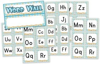 Beach Ocean Themed Word Wall Labels - Pretty word wall labels perfect for the beach or ocean theme. :)  Title includes word wall header and alphabet labels.
