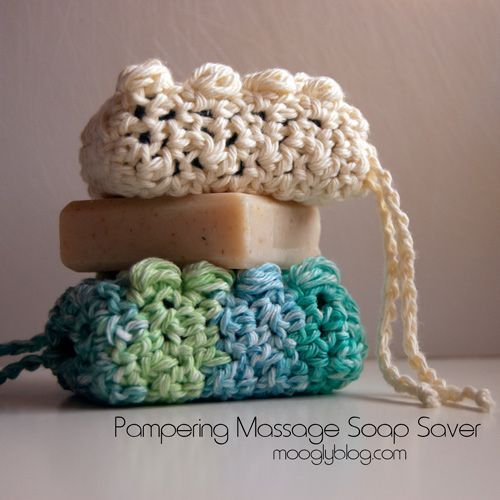 Pampering Massage Soap Saver - pair it with a gorgeous bar of soap for a great gift! Free crochet pattern...these would make great stocking stuffers