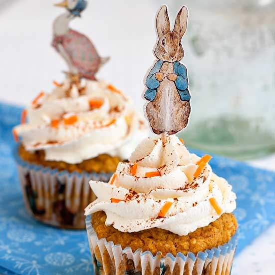 Peter Rabbit Easter Carrot Cupcakes with Cream Cheese Frosting. Gluten Free recipe for Easter or birthdays. Beatrix Potter cupcake toppers and liners.