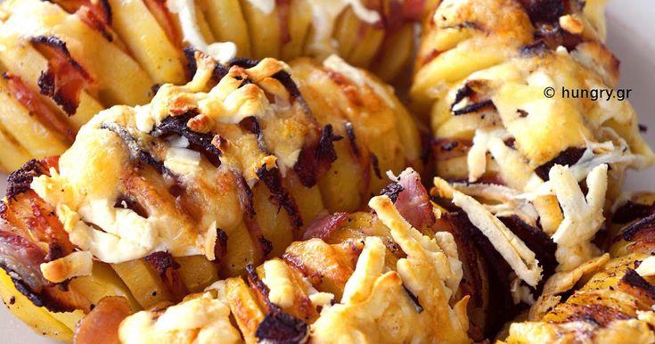 Ψητές Πατάτες με Μπέικον και Τυριά, Νόστιμες ολόκληρες  πατάτες στο φούρνο. Συνταγές για Πατάτες στο Φούρνο.