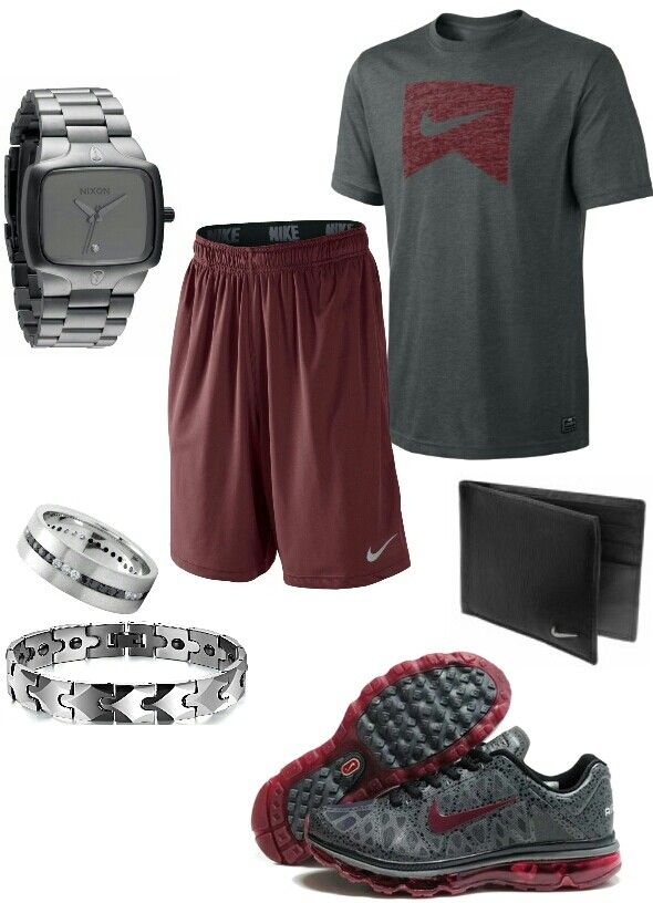 Men's fashion Nike gym outfit grey and burgundy shorts and tee shirt
