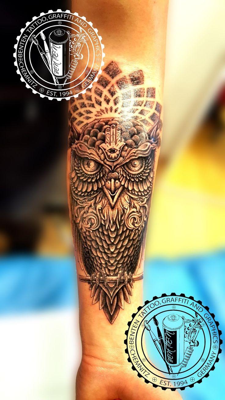 owl mandala tattoo --- Benten Tattoo Chemnitz. Der Tätowierer für Ihre ausgefallenen und eigens für Sie entworfenen Tattoo´s.