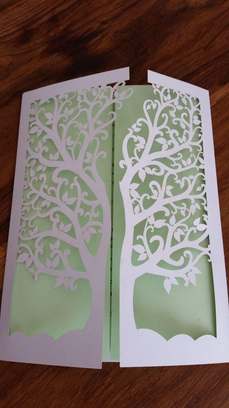 Pretty Gate fold laser cut tree Invitation