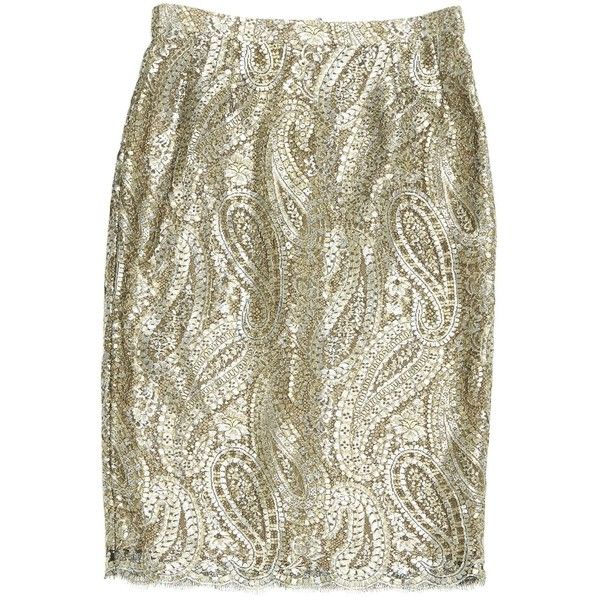 Pre-owned Chanel Mid-Length Skirt ($450) ❤ liked on Polyvore featuring skirts, metallic, brown skirt, long brown skirt, brown maxi skirt, metallic skirt and chanel