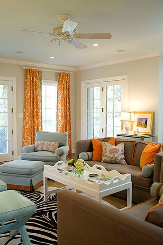 brown, blue and orange living room: Orange Curtains, Living Rooms, Color Combos, Color Schemes, Brown Couch, Zebras Rugs, Decoration Idea, Families Rooms, Rooms Color