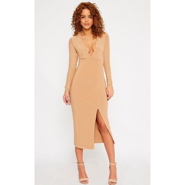 Christa Camel Slinky Plunge Split Front Midi Dress-6 (€10) ❤ liked on Polyvore featuring dresses, camel, night out dresses, white midi dress, midi cocktail dress, plunging v neck dress and white party dresses