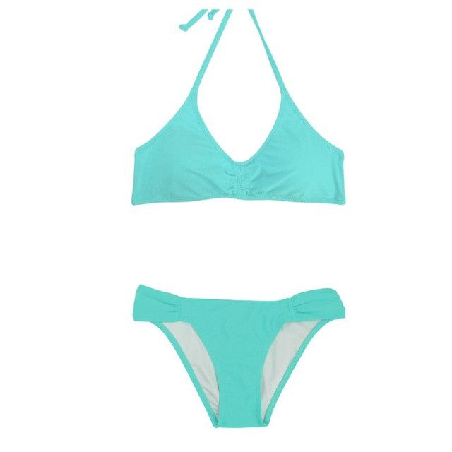 Halter Side Ruched Bottom Bikini Set Women Sexy Swimwear Low Waist Push Up Swimsuit Halter Pad Swim Wear Solid Bathing Suit