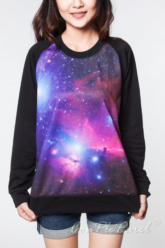 Galaxy Sweatshirt Pink & Blue Cosmic Sweater Women Long Sleeve Black Shirts Tee Shirt Jersey Women Unisex T-Shirts Size M L on Etsy, $26.99