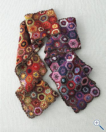 crochet scarf hexagon - love the colors on the brown one                                                                                                                                                                                 Plus